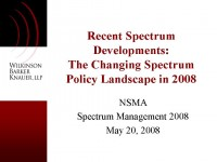 Recent Spectrum Developments