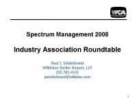 Spectrum Management 2008 Industry Association Roundtable