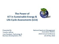 The Power of ICT in Sustainable Energy & Life Cycle Assessments (LCA)