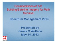Considerations of 3-D Building/Satellite Imagery for Path Surveys