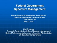 Spectrum Management in the Federal Government