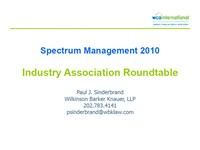 Spectrum Management 2010 Industry Association Roundtable