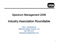 Spectrum Management 2006 Industry Association Roundtable