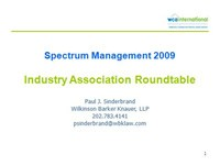 Spectrum Management 2009 Industry Association Roundtable