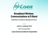 Broadband Wireless Communications at E-Band