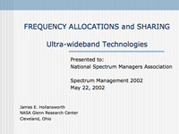 FREQUENCY ALLOCATIONS and SHARINGUltra-wideband Technologies
