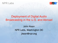 Deployment of Digital Audio Broadcasting in the U.S. and Abroad