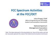 FCC Spectrum Activities at the FCC/OET